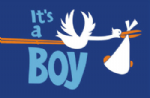 It's a Boy (Stork) Large Flag - 5' x 3'.